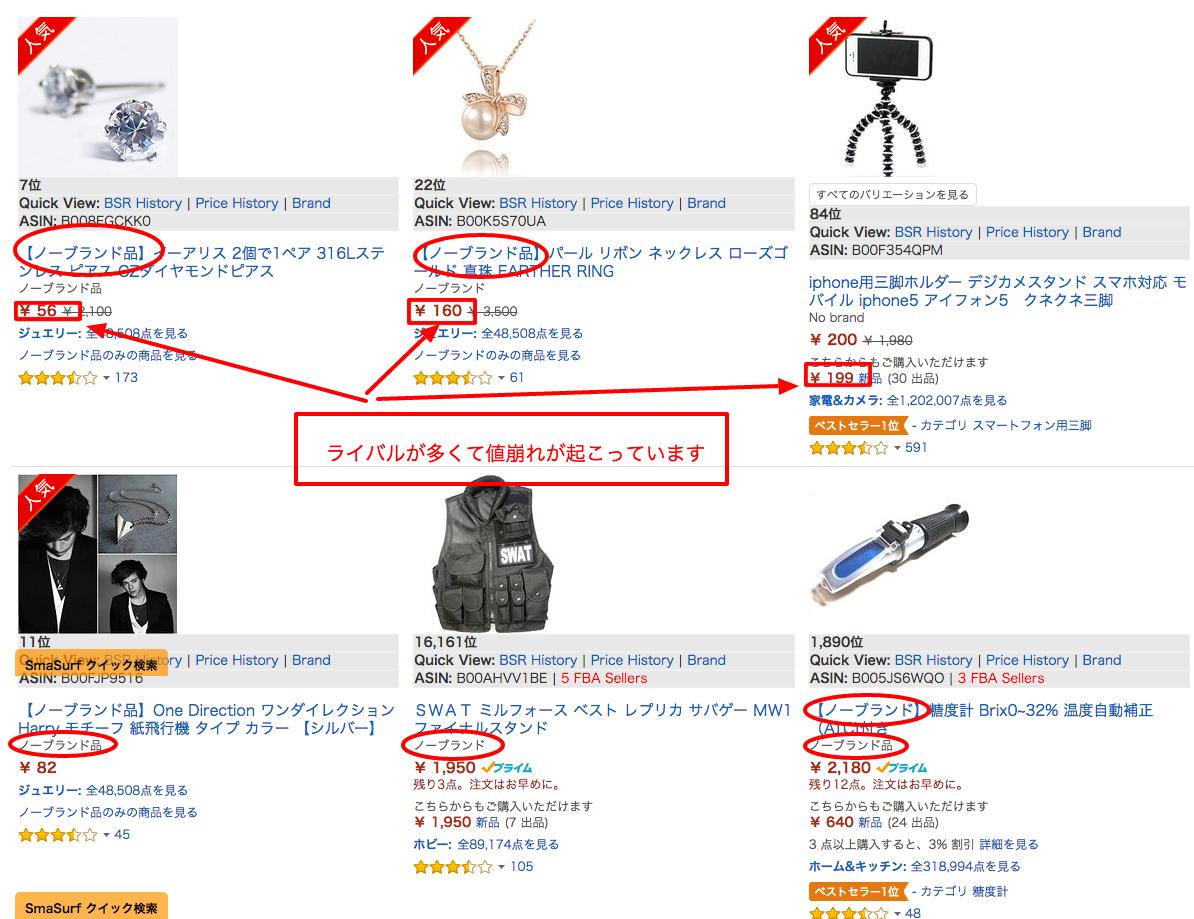 Amazon.co.jp ノーブランド、値崩れ